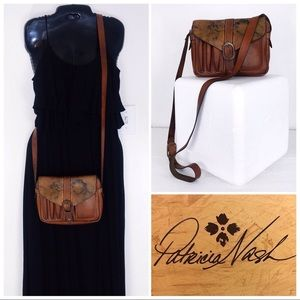 PN Distressed Praga Floral Flap Crossbody Bag